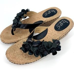B.O.C black floral leather sandal cork wed…